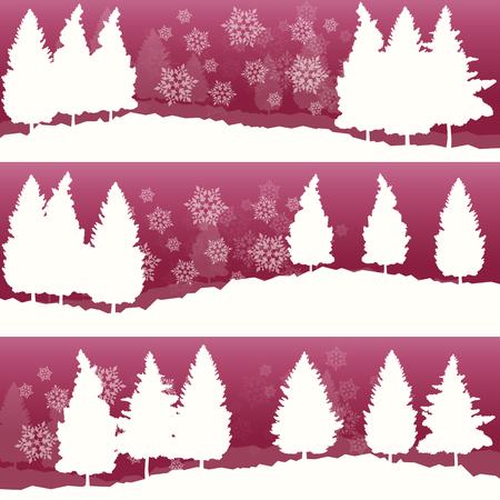 Winter landscape with trees and snow vector abstract background