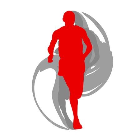 Man runner motion isolated vector background concept on white