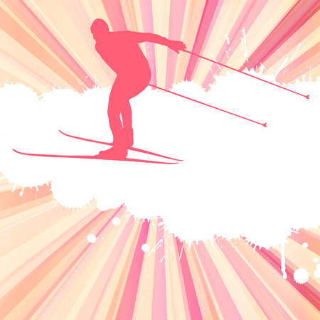 Skiing man vector abstract burst background
