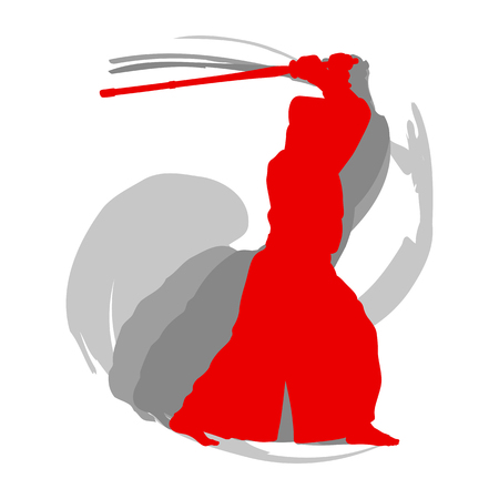 Kendo fighter red silhouette with shinai isolated on white background abstract concept Vectores