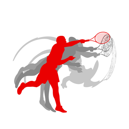 Tennis player male vector abstract background motion concept in red isolated on white