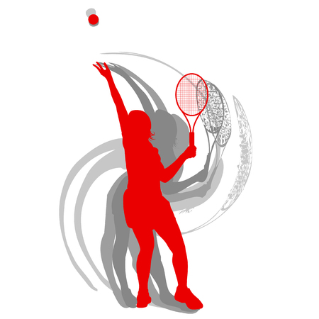 Tennis player female vector abstract background motion concept in red isolated on white
