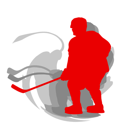 Hockey player in motion concept in red isolated on white vector background Illustration