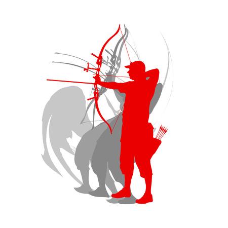 男アーチェリースポーツベクトル背景
