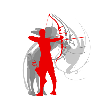 Man archery sport vector background Illusztráció
