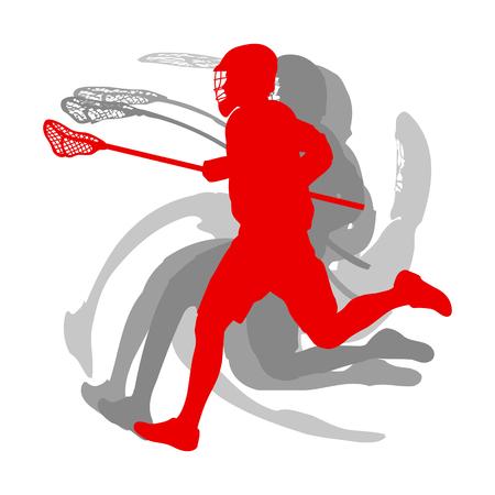 白い背景ベクトルに隔離された赤いコンセプトのラクロススポーツシルエットプレーヤー
