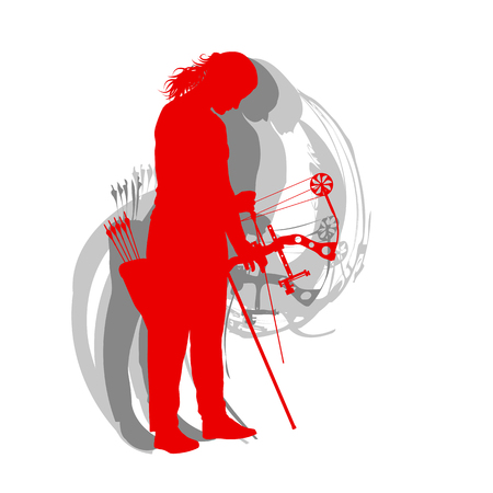 Woman archery sport vector background Illustration