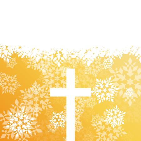 クリスマスキリスト教の十字架と赤い色の雪片抽象ベクトルの背景  イラスト・ベクター素材