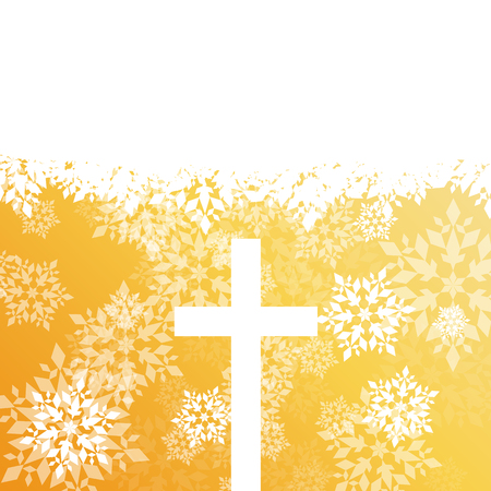 Snowflake abstract vector background in red color with christmas christianity cross