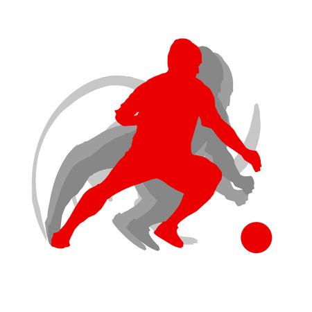 白い背景ベクトルモーションコンセプトで孤立したサッカー選手の男  イラスト・ベクター素材