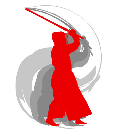 Kendo fighter red silhouette with shinai isolated on white background abstract concept Illustration