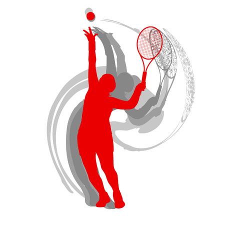 テニス選手男性ベクトル抽象的な背景モーションコンセプトは、白に隔離された赤で  イラスト・ベクター素材