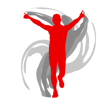 男ランナーモーションは、白にベクトル背景概念を分離