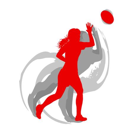 赤のラグビー女子選手は、影と白いベクトルの背景高速モーションコンセプトに隔離