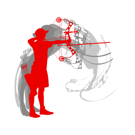 Man archery sport vector background Illustration