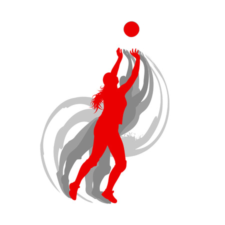 Volleyball player woman in red color vector background fast motion concept Illustration