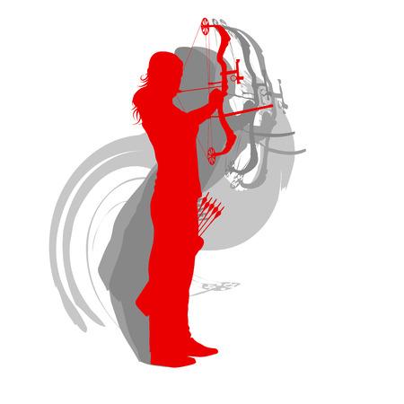 女性アーチェリースポーツベクトル背景