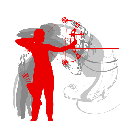 Woman archery sport vector background Illustration