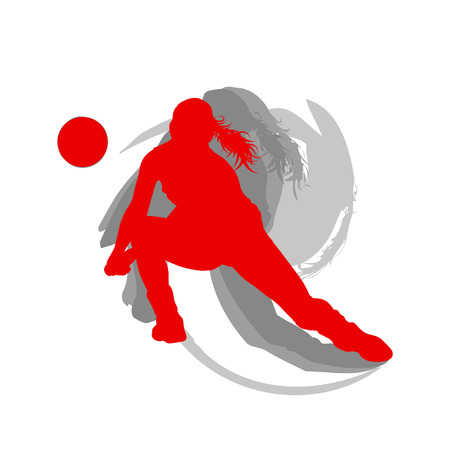 Volleyball player woman in red color vector background fast motion concept 矢量图像