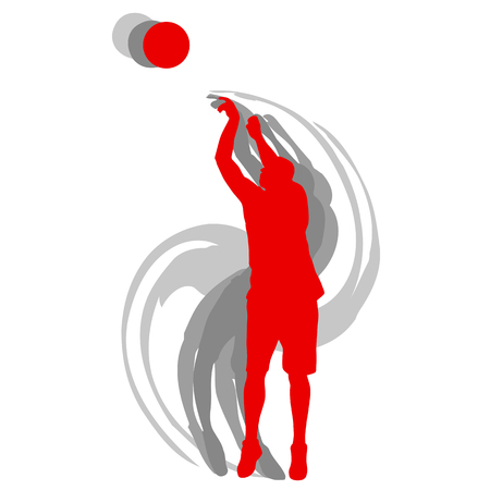 アクションベクトル背景コンセプトモーションでバスケットボール選手  イラスト・ベクター素材