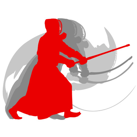 白い背景抽象コンセプトに隔離された剣道戦闘機赤いシルエット