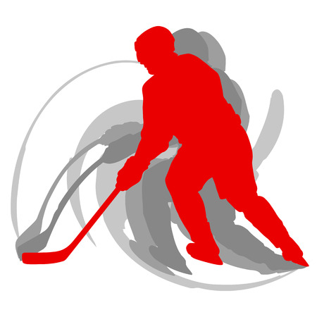 白いベクトルの背景に隔離された赤でモーションコンセプトのホッケー選手