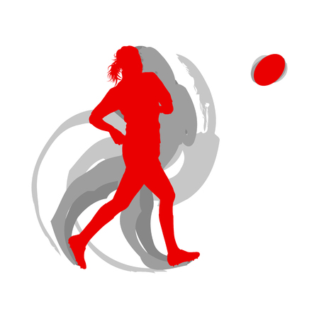 Rugby woman player in red isolated on white vector background fast motion concept with shadows