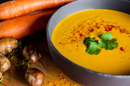 vegetables: Carrots and chestnuts soup