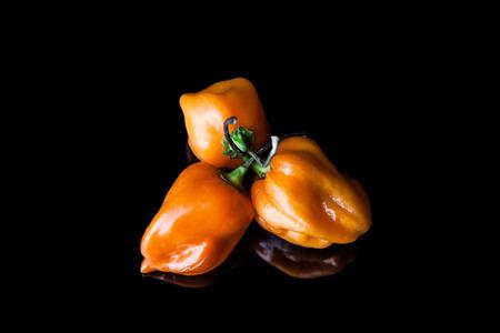 habanero: Three yellow hot habanero peppers on black background with reflection