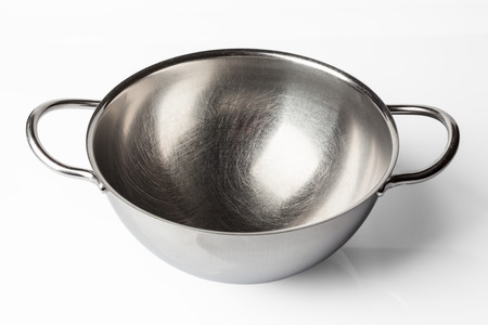 high angle: Stainless steel bowl on white background from high angle