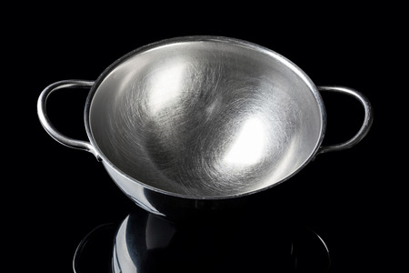 stainless steel background: Stainless steel bowl on black background from high angle