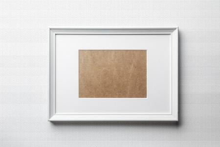 frame  box: White plain empty  wood picture frame with white mat passe-partout on white bricks background Stock Photo