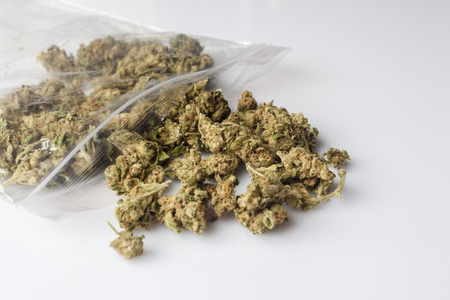 scattered on white background: Pile of medical cannabis dried buds scattered from nylon package on white background from side Stock Photo