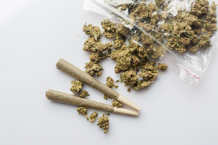 scattered on white background: Pile of medical cannabis dried buds scattered from nylon package and two marijuana joints on white background directly from above