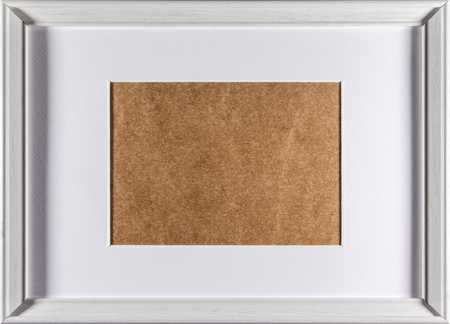 passepartout: White plain empty wood picture frame with white mat passe-partout full frame