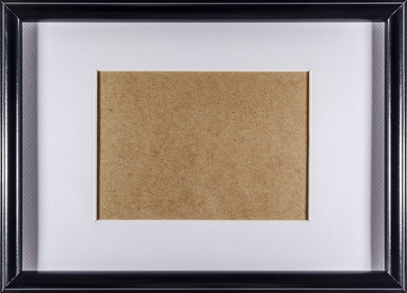 passepartout: Black plain empty thin wood picture frame with white mat passe-partout full frame
