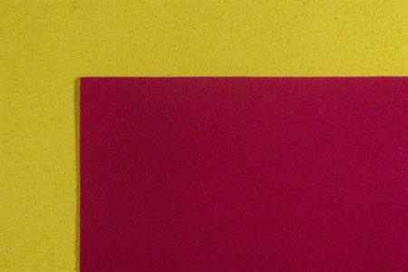 ethylene: Eva foam ethylene vinyl acetate red surface on lemon yellow sponge plush background