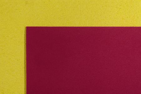 ethylene: Eva foam ethylene vinyl acetate smooth red surface on lemon yellow sponge plush background