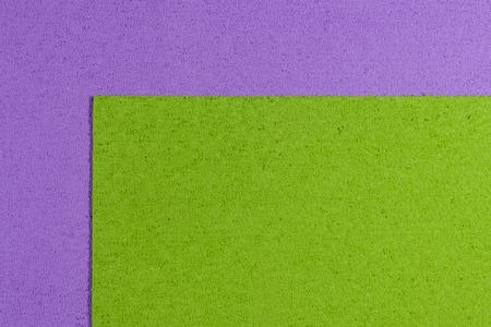acetate: Eva foam ethylene vinyl acetate apple green surface on light purple sponge plush background