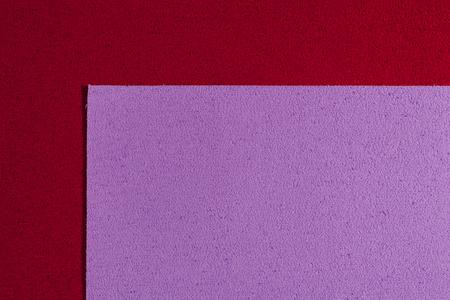 acetate: Eva foam ethylene vinyl acetate light purple surface on red sponge plush background
