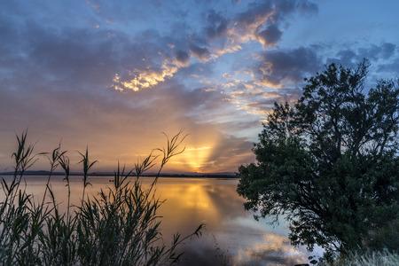 Blauw geel roze oranje en paars Carnon-Plage Montpellier zonsondergang boven water Zuid-Frankrijk van kust met vegetatie