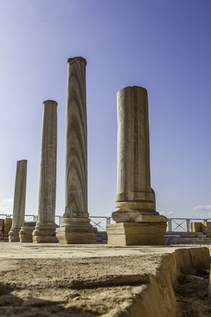Doric white marble columns ruins from low angle with sewer drain in floor Caesarea national park