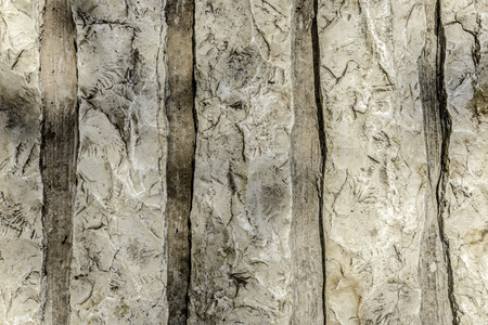 Rough white withered natural stone with fissures and cracks nature abstract background Banco de Imagens