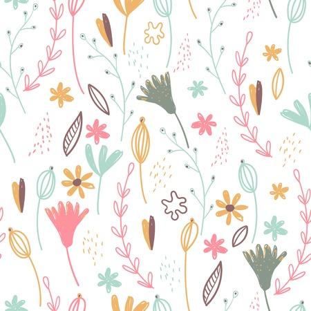 Vector flower pattern. Colorful seamless botanic texture, detailed flowers illustrations. All elements are not cropped and hidden under mask. Doodle style, spring floral background.  イラスト・ベクター素材