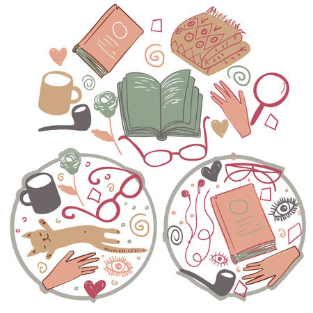 Vector books elements. Colorful literature texture. Vector illustrations with hand drawn books and glasses and smoking pipe. Background for use in design, web site, packing, textile, fabric