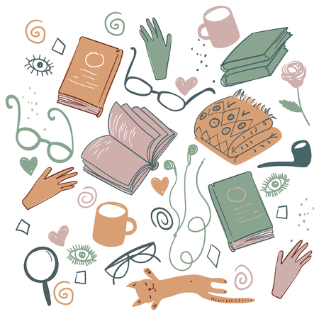 bookish: Vector books elements. Colorful literature texture. Vector illustrations with hand drawn books and glasses and smoking pipe. Background for use in design, web site, packing, textile, fabric