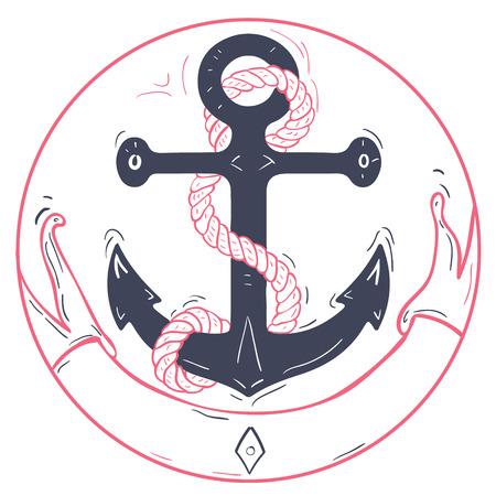 航海のアンカー ロープとリボン。ピンクのリボンと青い海や船のアンカー。新婚旅行やバレンタイン クルーズやボート、ヨット、ベクター グラフ