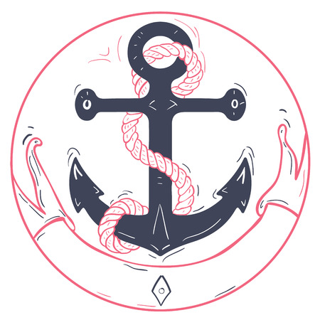 metal chain: Nautical anchor with rope and ribbon.Blue marine or ships anchor with a pink ribbon. A honeymoon or Valentines cruise or a love of boating and yachting, vector illustration.