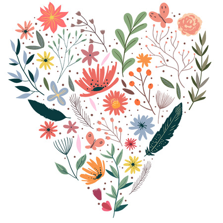 wedding  art: Wreath illustration made of flowers and herbs. Vector decorative frame and leaf. Spring elements. Floral doodles wreath.