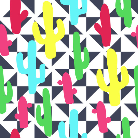 femine: Colorful cactus indian summer on triangle background pattern in vector in comics style. Seamless pattern can be used for wallpaper, pattern fills, web page background, surface textures. Illustration